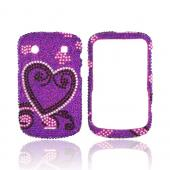 Blackberry Bold 9900, 9930 Bling Hard Case - Silver/ Black Heart on Purple Gems