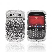 Blackberry Bold 9900, 9930 Bling Hard Case - Black Splash on Silver Gems