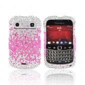 Blackberry Bold 9900, 9930 Bling Hard Case - Pink Splash on Silver Gems