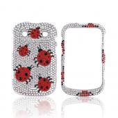 Blackberry Bold 9900, 9930 Bling Hard Case - Red Ladybugs on Silver Gems