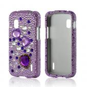 Purple Hearts on Purple/ Clear Gems Bling Hard Case for Google Nexus 4