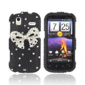 HTC Amaze 4G Bling Hard Case - Silver Bling Bow on Black Gems