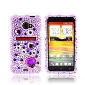 HTC EVO 4G LTE Bling Hard Case - Purple Hearts on Light Purple/ Silver Gems