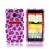 HTC EVO 4G LTE Bling Hard Case - Purple/ Light Purple Leopard Gems