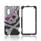 HTC EVO Design 4G Bling Hard Case w/ Crowbar - Silver Skull on Black Gems