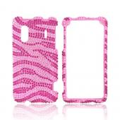 HTC EVO Design 4G Bling Hard Case w/ Crowbar - Hot Pink Zebra on Baby Pink Gems