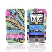 HTC FreeStyle Bling Hard Case - Rainbow Zebra on Silver