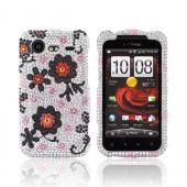 HTC Droid Incredible 2 Bling Hard Case - Black Daisies on Silver Gems