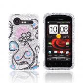 HTC Droid Incredible 2 Bling Hard Case w/ Crowbar - Pink Flower w/ Black &amp; Turquoise Swirls on Silver Gems