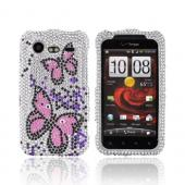 HTC Droid Incredible 2 Bling Hard Case - Pink Butterflies &amp; Purple on Silver Gems
