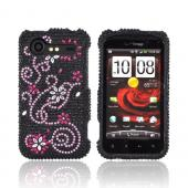 HTC Droid Incredible 2 Bling Hard Case w/ Crowbar - Baby Pink Swirls w/ Flowers on Black Gems