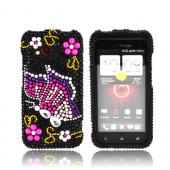 HTC Droid Incredible 4G LTE Bling Hard Case - Purple/ Pink Butterfly on Black Gems