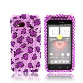 HTC Droid Incredible 4G LTE Bling Hard Case - Purple/ Light Purple Leopard