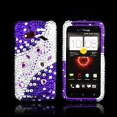 HTC Droid Incredible 4G LTE Bling Hard Case - Purple/ Silver Hearts & Gems