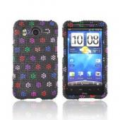 HTC Inspire 4G Bling Hard Case - Rainbow Dots on Black