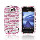 HTC Mytouch 4G Slide Bling Hard Case - Pink Zebra on Silver Gems