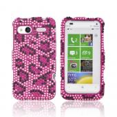 HTC Radar 4G Bling Hard Case - Hot Pink/ Black Leopard on Pink Gems