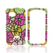 HTC Rezound Bling Hard Case - Green/ Hot Pink/ Yellow Hawaiian Flowers