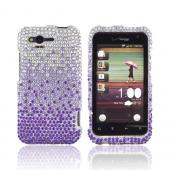 HTC Rhyme Bling Hard Case - Purple/ Lavender Waterfall on Silver Gems