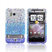 HTC Thunderbolt Bling Hard Case - Blue/ Turquoise Waterfall on Silver Gems