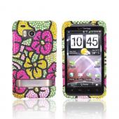 HTC Thunderbolt Bling Hard Case - Green/Pink/Yellow Hawaii Flowers