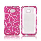 HTC Titan 2 Bling Hard Case - Silver Hearts on Hot Pink Gems