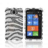 HTC Titan Bling Hard Case - Black Zebra on Silver Gems