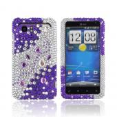 HTC Vivid Bling Hard Case - Purple Hearts on Silver &amp; Purple Gems