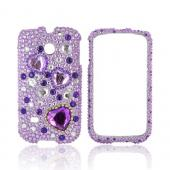 Huawei Ascend 2/ Prism/ Summit M865 Bling Hard Case - Purple Hearts on Light Purple / Silver Gems