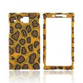 Huawei Ideos X6 Bling Hard Case - Black/ Brown Leopard on Gold