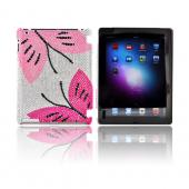 Apple iPad 2, New iPad Bling Hard Case - Hot Pink/ Baby Pink Butterflies on Silver Gems
