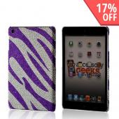 Purple/ Silver Zebra Bling Hard Case for Apple iPad Mini