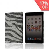 Silver/ Black Zebra Bling Hard Case for Apple iPad Mini