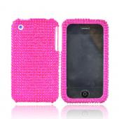 Apple iPhone 3GS 3G Bling Hard Case - Hot Pink Gems
