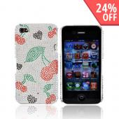 Apple Verizon/ AT&amp;T iPhone 4, iPhone 4S Bling Hard Case - Hearts/Cherry on Silver