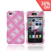 Apple Verizon/ AT&amp;T iPhone 4, iPhone 4S Bling Hard Case - Checkered Design of Pink, Rose Pink, and Clear Gems on Silver