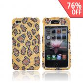 Apple Verizon/ AT&amp;T iPhone 4, iPhone 4S Bling Hard Case - Leopard Gold/Brown