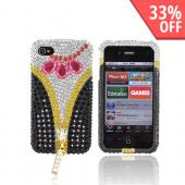 Premium Apple AT&amp;T/ Verizon iPhone 4 Bling Hard Case - Black/ Pink/ Silver &amp; Gold Gems w/ Gold Zipper