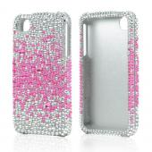 Apple Verizon/ AT&T iPhone 4, iPhone 4S Bling Hard Case - Hot Pink Splash Gems on Silver - XXIP4