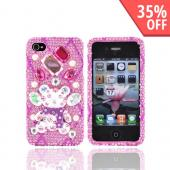 Luxmo Verizon/ AT&amp;T iPhone 4, iPhone 4S Bling Hard Case - White Bear on Pink Gems