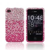 AT&amp;T/ Verizon Apple iPhone 4, iPhone 4S Bling Hard Case - Magenta/ Baby Pink Waterfall on Silver Gems