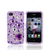 Luxmo Apple Verizon/ AT&amp;T iPhone 4, iPhone 4S Bling Hard Case - Purple Hearts on Purple and Clear Gems