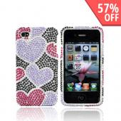 Luxmo Apple Verizon/ AT&amp;T iPhone 4, iPhone 4S Bling Hard Case - Purple/Pink Hearts on Black