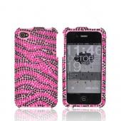 Apple Verizon/ AT&amp;T iPhone 4, iPhone 4S Bling Hard Case - Zebra Pink/Black