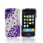 Luxmo Apple Verizon/ AT&amp;T iPhone 4, iPhone 4S Bling Hard Case - Purple/Silver Rhinestones