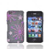 Apple Verizon/ AT&amp;T iPhone 4, iPhone 4S Bling Hard Case - Supernova Pink Star on Black