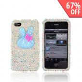 Premium Apple AT&amp;T/ Verizon iPhone 4 Bling Hard Case - Blue Bunny w/ Silver, Blue &amp; Pink Heart Gems on Silver