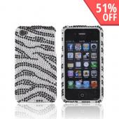 Apple Verizon/ AT&amp;T iPhone 4, iPhone 4S Bling Hard Case - Zebra Silver/Black