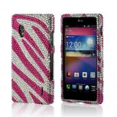 Hot Pink/ Silver Zebra Bling Hard Case for LG Optimus G (AT&T)