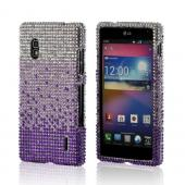 Purple/ Lavender Waterfall on Silver Gems Bling Hard Case for LG Optimus G (AT&amp;T)